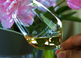 a glass of Vouvray wine